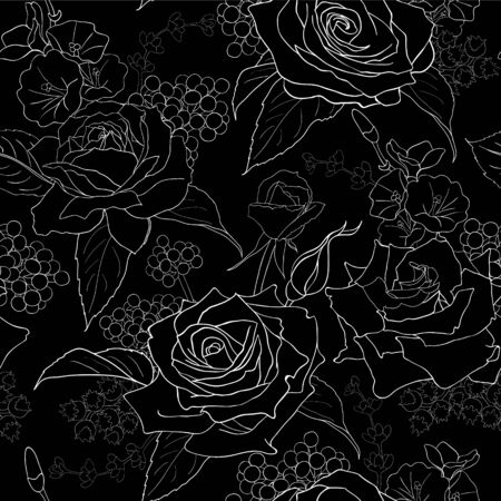 Seamless pattern with roses. White flowers, leaves on black background. Abstract monochrome pattern Иллюстрация