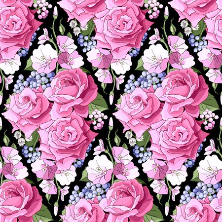 Seamless pattern with roses. Flowers, leaves on white background. Abstract colorful pattern in floral style.