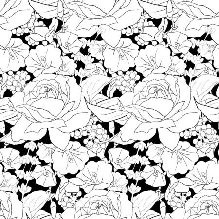 Seamless pattern with roses. White flowers, leaves on black background. Abstract monochrome pattern illustration in floral style. Иллюстрация