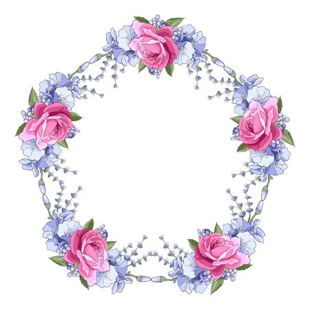 Wianek z różą, liśćmi, lawendą. Okrągła rama kwiatowa. Obramowanie z motywem kwiatowym. Pomysł na zaproszenie na wydarzenie, kartkę z życzeniami, okładkę, pocztówkę, plakat, baner. Edytowalny szablon do projektowania ilustracji wektorowych