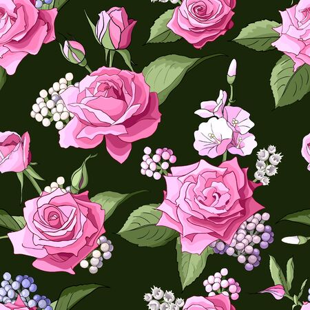 Seamless pattern with roses. Flowers, leaves on white background. Abstract colorful pattern in floral style. Idea for material, scarf, fabric, textile, wallpaper, wrapping paper. Vector illustration Иллюстрация