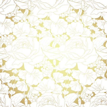 Gold flowers on white background. Elegance seamless pattern with roses. Abstract pattern with floral motifs. Idea for material, scarf, fabric, textile, wallpaper, wrapping paper. Vector illustration