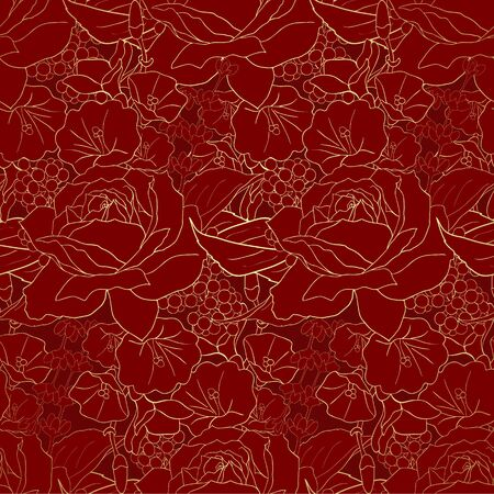 Red flowers on gold background. Elegance seamless pattern with roses. Abstract pattern with floral motifs. Idea for material, scarf, fabric, textile, wallpaper, wrapping paper. Vector illustration
