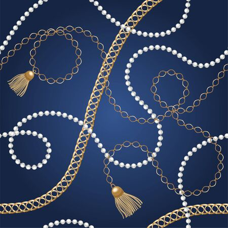 Seamless background with gold chains, belt,rope, grid. Abstract pattern in nautical style. Marine motifs ornament. Idea for material, textile, fabric design. Blue, gold texture