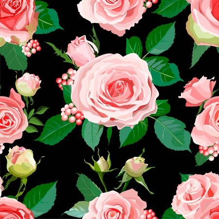 Seamless pattern with roses. Flowers, leaves, bud background. Abstract colorful pattern in floral style. Idea for material, scarf, fabric, textile, wallpaper, wrapping paper Vector illustration