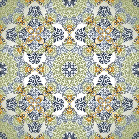 Vintage Background Traditional Ottoman motifs.Decorative colorful seamless pattern in mosaic ethnic style.Vector illustration Ilustracja