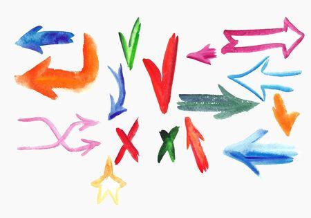 Watercolor  colorful sketch arrow set. Vector illustration