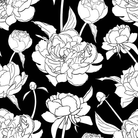 Pink peonies seamless. Abstract flower pattern background for prints, fabric, invitation cards, wedding decoration, wallpapers, poster, wrapping paper. Realistic style. Floral motifs.Vector.