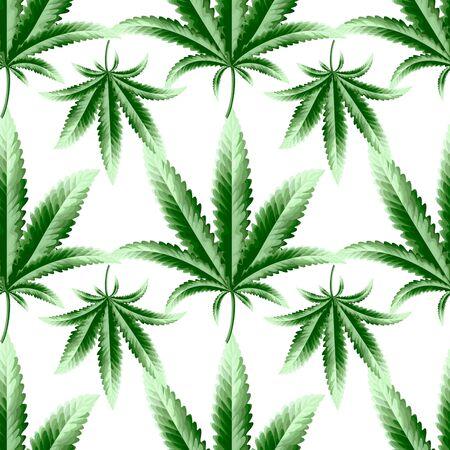 Hemp, marijuana, cannabis seamless pattern. High quality seamless pattern for printing. 向量圖像