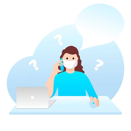 Young woman with smartphone sitting at the desk indoors in home office. Girl is talking by cellphone and working, studing from home. Self quarantine activity. Distance education. Many questions.