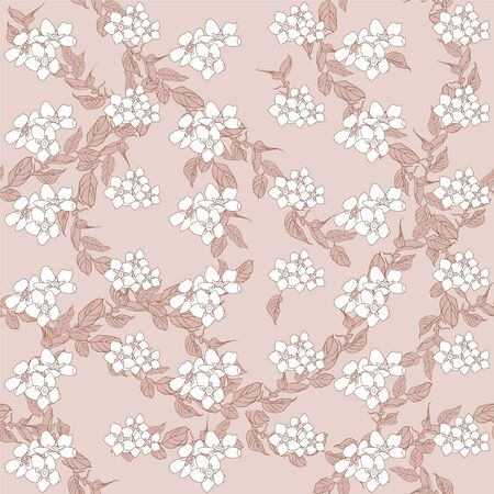 Seamless pattern with hydrangea. Pink flowers, leaves background. Abstract pattern in floral style. Idea for material, scarf, fabric, textile, wallpaper, wrapping paper.