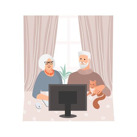 Studying computer by elderly people concept. Technology spread, remotely education, active social life, online communication, senior couple learning to use PC together. Online shopping. Vector 矢量图像