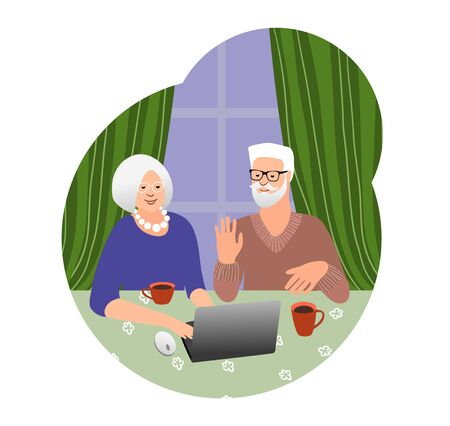 Beautiful senior couple have chat by laptop. Technology spread, remotely education, active social life, online communication. Old people use PC together. Online shopping. Vector 矢量图像