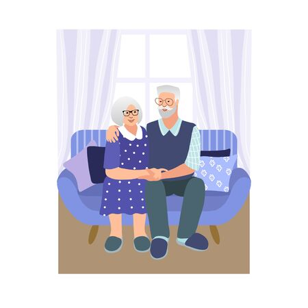Beautiful senior couple hugging and looking each other. Hand drawn style vector design illustrations.