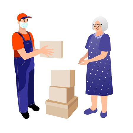 Medical masked volunteer brought food to elderly woman. Social worker delivers medicine to old woman. Vector flat cartoon characters illustration. Stay at home concept.