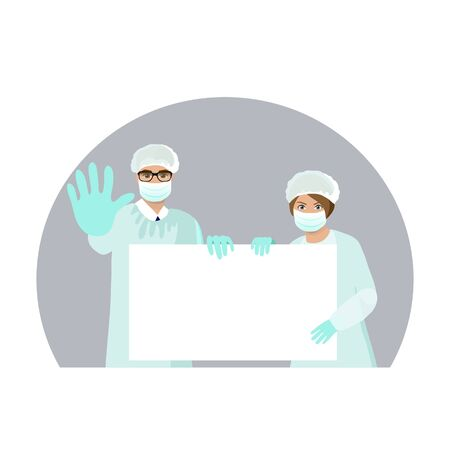 Group of doctors presenting empty banner. Doctor and nurse in protection suit and mask with stop sign. Vector