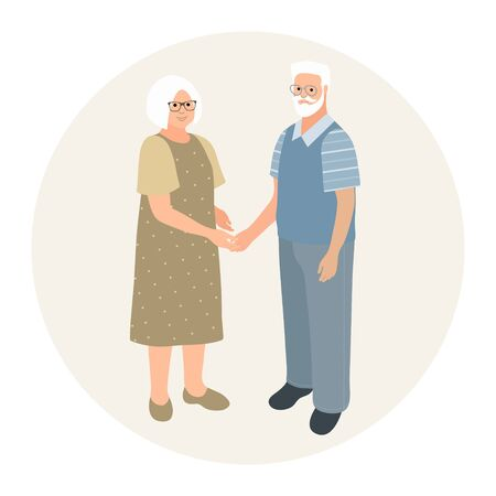 Happy grandparents character design. Fashionably dressed older man and older woman together. Elderly couple holding hands. Feeling happy of granddaddy and grandmother retirement age.Vector illustration