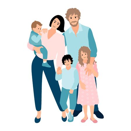 Family happy together. Group of people standing. Baby, little boy, teenager girl, woman, man, lover. Young couple. Father, mother, sister, brother, son, daughter. Vector