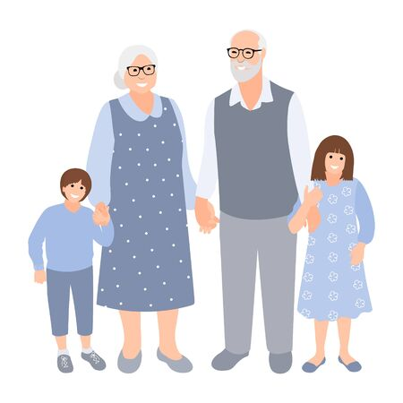 Elderly gray-haired couple with grandchildren spend time together. Family silhouette. Old woman and man with young cute boy and girl.