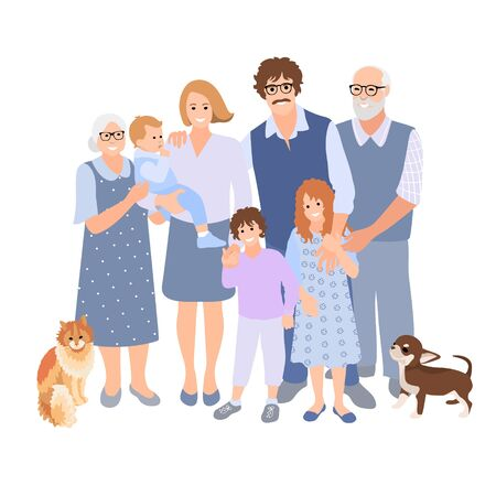 Family happy together. Group of people standing. Father, mother, sister, brother, son, daughter, grandparents, grandchildren, pets. Cat and dog. Three generation spend time. Vector cartoon style. 矢量图像