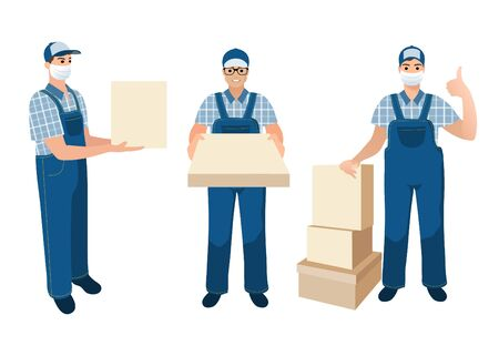 Collection of delivery men. Medical masked volunteer brought box. Set of courier boys holding packaged parcels, pizza box, bags with goods. Flat cartoon characters white background.