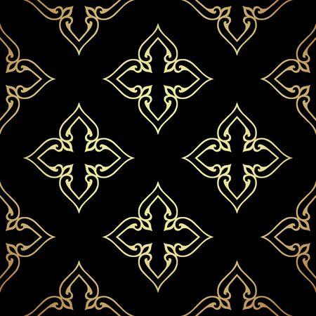 Damask black seamless background. Filigree oriental luxury ornament. Decorative pattern in mosaic ethnic style.