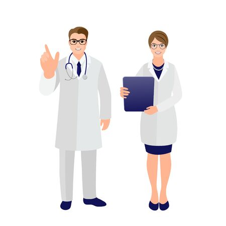 Doctor and nurse. Set of doctors in medical uniform. Attractive young man with attention gesture and girl with report. Health care concept.