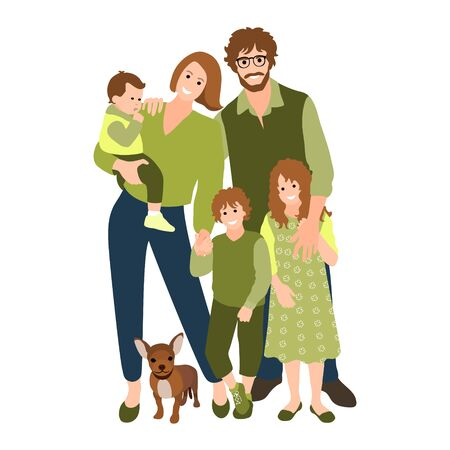 Family happy together. Group of people standing. Baby, little boy, teenager girl, woman, man, lover. Young couple. Father, mother, sister, brother, son, daughter. Vector 矢量图像