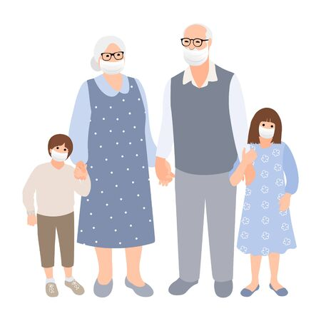 Elderly gray-haired couple with grandchildren spend time together. Family silhouette. Old woman and man with young cute boy and girl. Stay home concept. Health care. Vector cartoon. 矢量图像