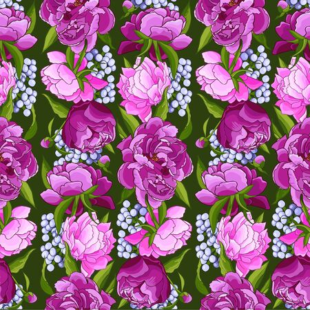 Pink peonies seamless. Abstract flower pattern background for prints, fabric, invitation cards, wedding decoration, wallpapers, poster, wrapping paper. Realistic style. Floral motifs.Vector. 矢量图像