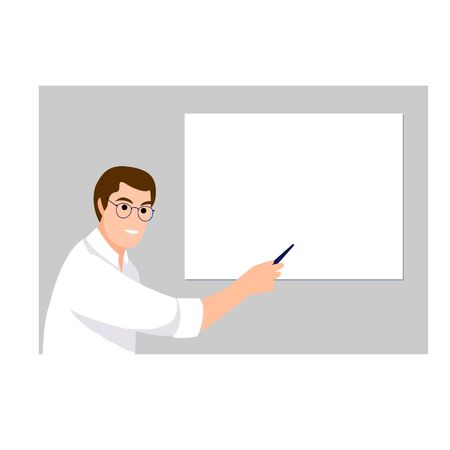 Handsome man note on empty board. Banner with a place for text. Vector illustration in cartoon style.