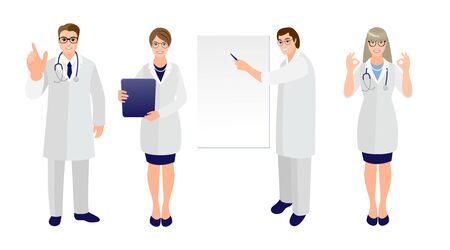 Set of doctors and nurses in medical uniform in various poses and gestures on a white background. Different races people. Vector illustration in cartoon style