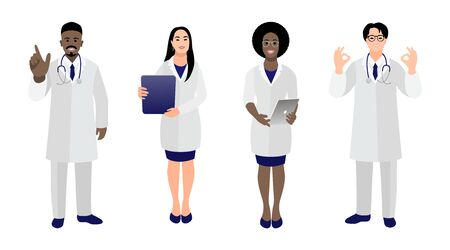 Set of doctors and nurses in medical uniform in various poses and gestures on a white background. Different races people. The fight against coronavirus COVID-19. Vector illustration in cartoon style
