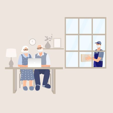 Delivery man help to senior adults. Medical masked volunteer brought box to pensioner couple . Courier boys holding package with goods outside. Safety delivery. Senior care. Cartoon vector characters.