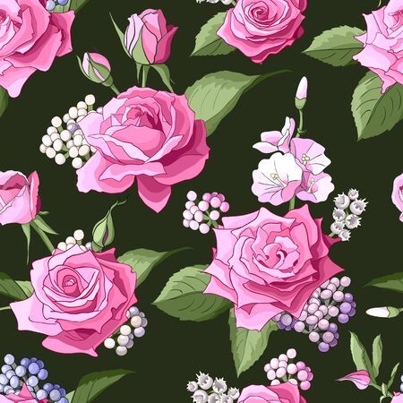 Seamless pattern with roses. Pink flowers, leaves on white background. Abstract colorful pattern in floral style. Idea for material, scarf, fabric, textile, wallpaper, wrapping paper. Vector illustration 矢量图像