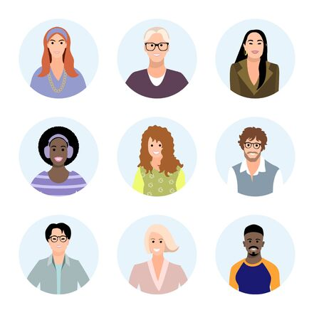 Set of people different races avatars. User portraits. Male and female characters faces. Smiling young men and women collection. Bundle of happy faces icons. Vector illustration in flat cartoon style 矢量图像