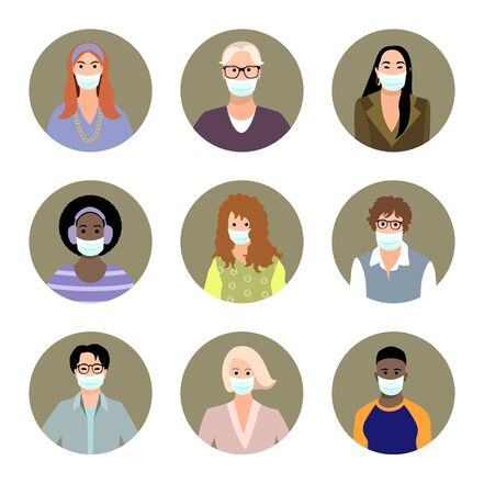 Set of different people in medical masks avatars. Male and female characters faces. Men and women icon collection. Prevention COVID-19. Medicine concept. Vector illustration in flat cartoon style