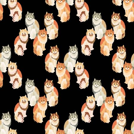 Seamless pattern with cute colorful cats. Creative animal texture. Idea for fabric, textile. Vector Illustration