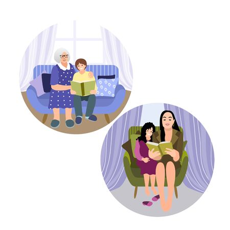 Set of people. Mother and granny read books with children. Kids study from home office. Home schooling. Relaxed happy time with family together. Vector 矢量图像