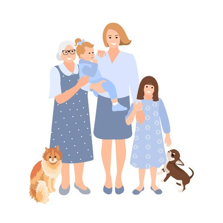 Young woman hug her old mother, baby and small girl with love. Mother and daughter love as family. Mother's day concept media. Cat and dog.Vector flat illustration