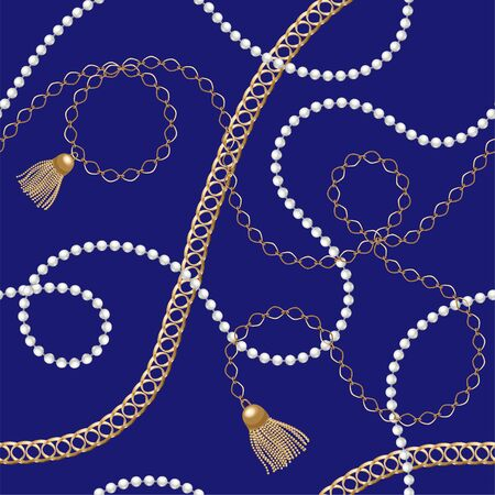 Gold chains seamless pattern. Gold hearts and tassels. Abstract pattern in nautical style. Marine motifs ornament. Idea for material, textile, fabric design. Black, gold texture Vector illustration 矢量图像