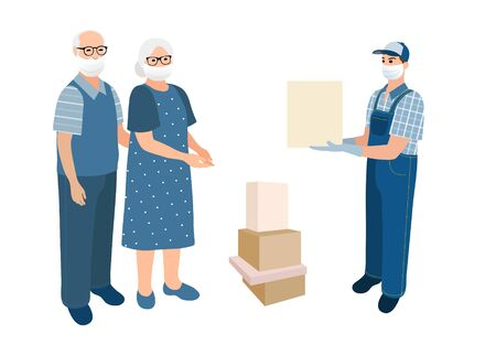 Delivery man deliver to senior adults. Medical masked volunteer brought boxse to pensioner couple . Courier boys holding package with goods. Flat cartoon characters isolated on white background 矢量图像