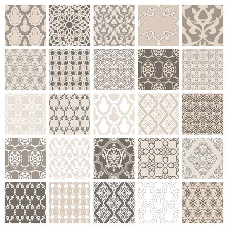 Set of 25 eastern style seamless. Vintage background traditional Ottoman motifs. Decorative pattern in mosaic ethnic style. Oriental ornaments. Vector illustration 矢量图像