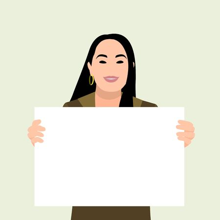 Happy young asian girl holding/showing/displaying white blank board/banner/poster.Hand drawn style vector design illustrations.