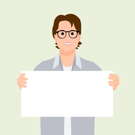 Happy handsome man holding/showing/displaying white blank board/banner/poster. Flat style vector illustrations.