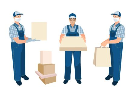 Collection of delivery men. Medical masked volunteer brought box. Set of courier boys holding packaged parcels, pizza box, bags with goods. Flat cartoon characters isolated on white background. 矢量图像