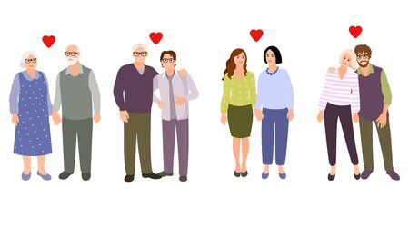 Set of families. Collection different couples. Happy  couples.  Vector cartoon style illustration.