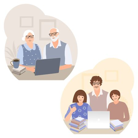 Senior couple chat with grandchildren. Studying computer by elderly people concept. Remotely education. Online studying. Active social life. Support talk Online communication. Online shopping. Vector illustration 矢量图像
