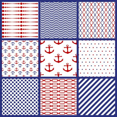 Set of seamless marine motifs background. Chains, anchor, polka dots, spripes, lines, waves. Collection of nautical style patterns. Editable element for brush swatch. Different ornaments. Vector illustration
