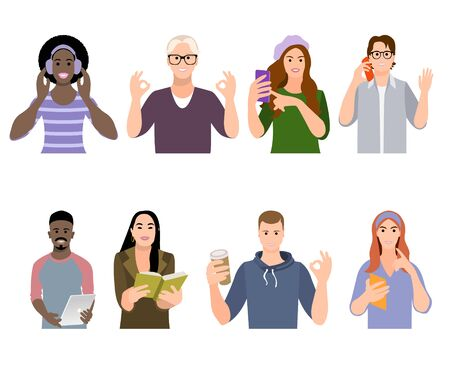 Set young girls and boys holding book, smartphone, tablet isolated characters on white background. Group of students different races. Happy teenagers. Youth lifestyle. Flat vector illustration. 矢量图像